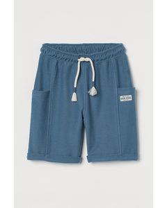 Shorts aus Baumwollmischung Blau