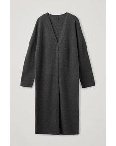 Boiled Merino Wool Longline Cardigan Dark Grey