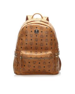 Mcm Visetos Stark Leather Backpack Brown