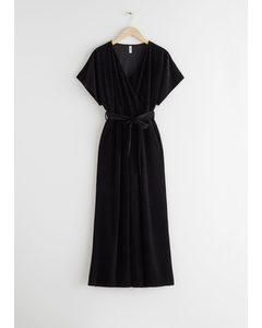 Plissé Pleated Wrap Jumpsuit Black Glitter