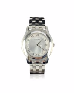 Gucci Silver Stainless Steel Mod 5500 M Wrist Watch White Dial
