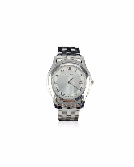 Gucci Gucci Silver Stainless Steel Mod 5500 M Wrist Watch White Dial