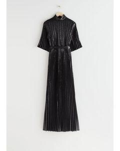 Belted Pleated Maxi Dress Black Metallic