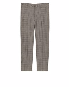 Normal geschnittene Tweed-Hose Beige