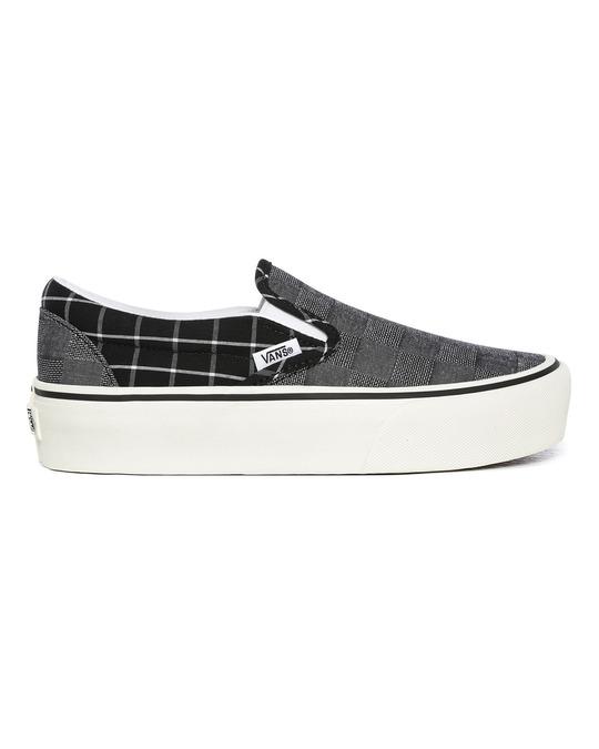 Vans Ua Classic Slip-on Platform (woven Check)multi/blanc De Blanc
