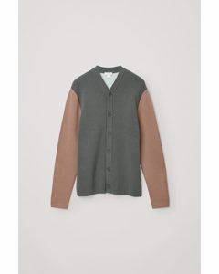 Cotton-merino Wool Mix Cardigan Grey / Brown