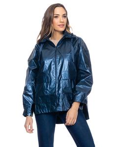 Metalliic Jacket Oversize With Elastic Back And Hood