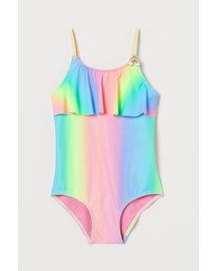 Badeanzug mit Volant Rosa/Regenbogen