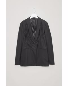 Blazer With Smocking Detail Black