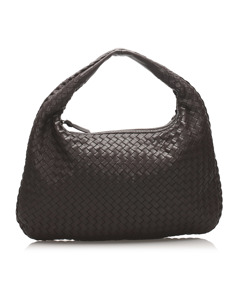 Bottega Veneta Intrecciato Leather Hobo Bag Brown