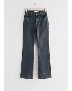 Flared High Waist Jeans Grey