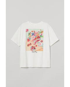 T-Shirt mit Druck Naturweiß/Blumen
