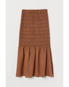 Smocked Silk-blend Skirt Dark Beige
