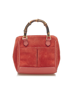 Gucci Bamboo Suede Satchel Red