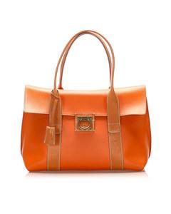 Ferragamo Gancini Leather Tote Bag Brown