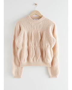 Relaxed Fuzzy Bubble Knit Sweater Beige