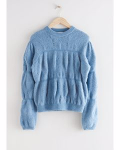 Relaxed Fuzzy Bubble Knit Sweater Blue