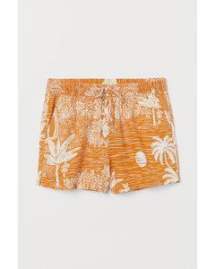 Shorts aus Leinenmischung Terracotta/Landschaft
