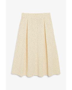 Button-up Midi Skirt Cream Polka Dot