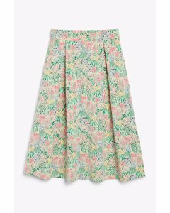 Button-up Midi Skirt Floral