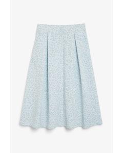 Button-up Midi Skirt Blue Floral Print