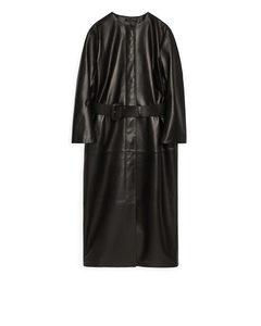 Belted Leather Coat Black