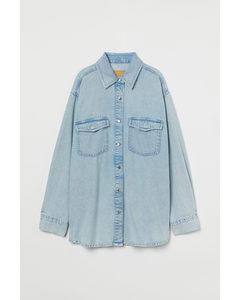 Hemdjacke aus Denim Hellblau