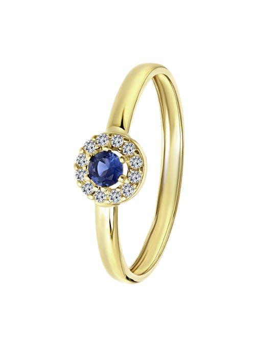 Lucardi 9 Karaat Damesring Ring Met Wit&blauwe Zirkonia
