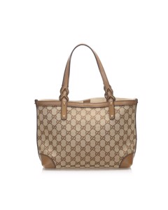 Gucci Gg Canvas Craft Tote Bag Brown