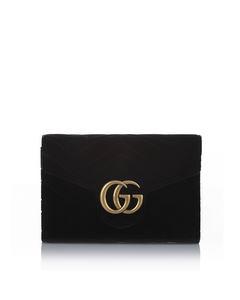 Gucci Gg Marmont Matelasse Velvet Crossbody Bag Black