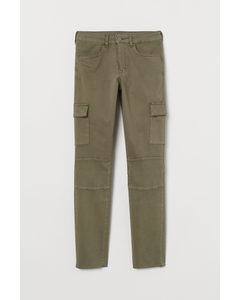 Skinny High Ankle Jeans Khakigrün