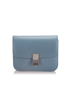 Celine Medium Classic Box Leather Shoulder Bag Blue