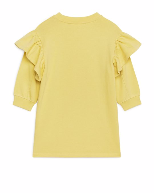 Arket Frill Sweatshirt Dress Yellow