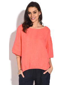 Openwork Round Collar Top With Buttoned On The Back And 3/4 Sleeves