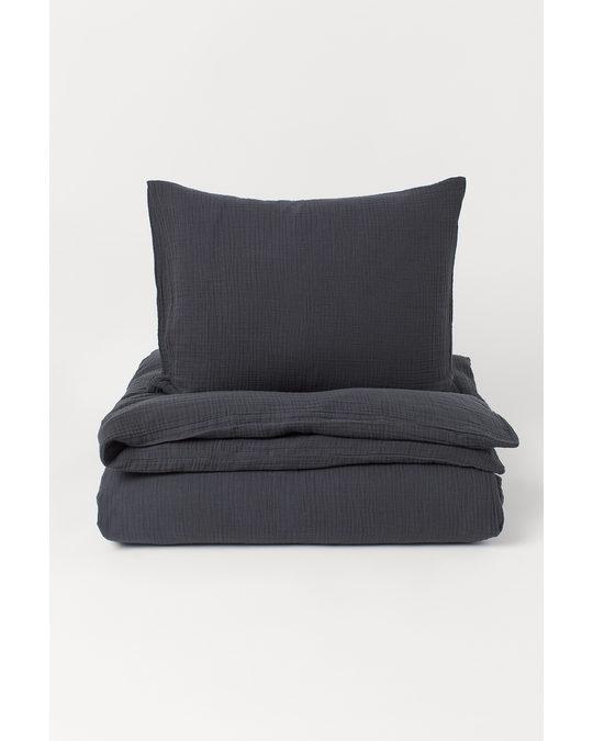 H&M HOME Bettwäsche aus Musselin Anthrazit