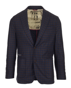 Checked Suit Jacket Navy/burgundy