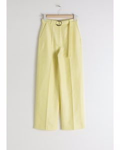 Belted Cotton Linen Blend Trousers Yellow