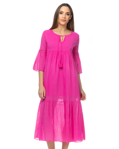 Oversized Long Dress With Vainica Details