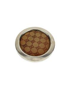 Gucci Vintage Burgundy Monogram Round Coaster Barware