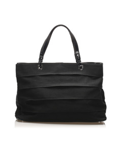 Ferragamo Ruffled Gancini Nylon Tote Bag Black