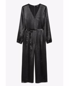 Belted Satin Jumpsuit Black Magic