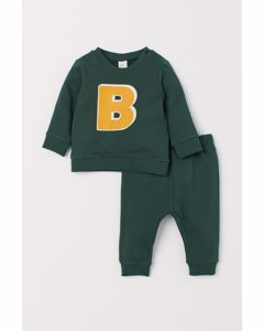 2-delat Sweatshirtset Mörkgrön/b