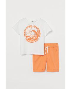 2-teiliges Baumwollset Orange/Santa Cruz