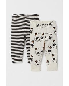 Set Van 2 Katoenen Leggings Gebroken Wit/panda's