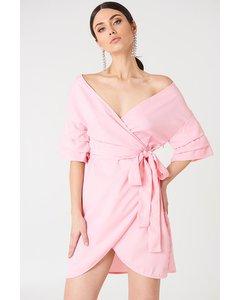Off Shoulder Overlapped Dress  Light Pink