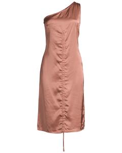 One Shoulder Drawstring Dress  Terracotta