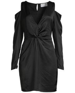 Cold Shoulder Knot Dress  Black