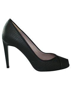 Black Textured Open Toe Heels