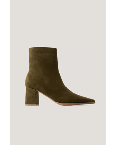 Faux Suede Slim Toe Boots Moss