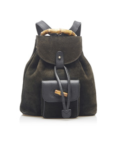 Gucci Bamboo Suede Backpack Black